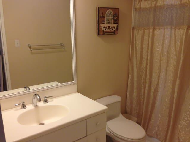 Master bathroom with sower tub.