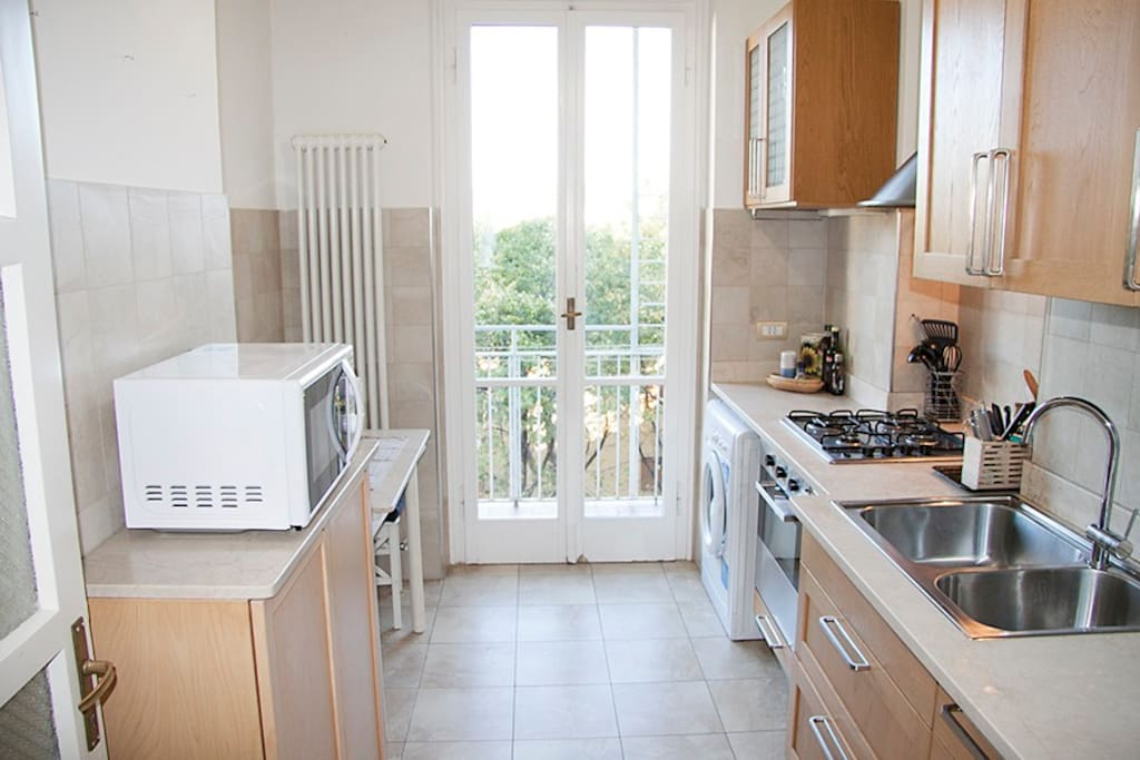 From the kitchen you have access to the second terrace