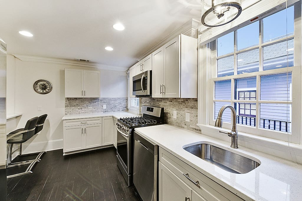 Large modern kitchen with updated appliances
