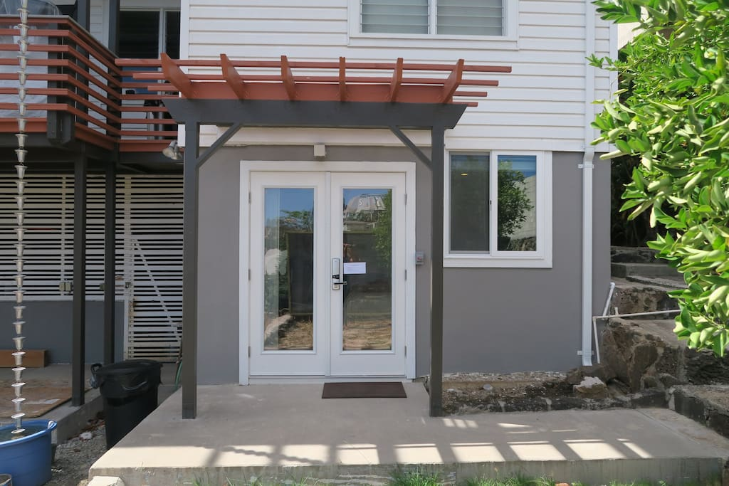 You have your own private entrance located toward the backyard.
