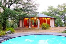 """Yoga pavilion """"Il Tondo"""" with pool, the building is in the highest part of the property 5 min uphill walk from the villa"""