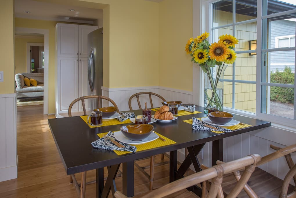 You can move kitchen table out the french doors onto the porch for dining al fresco