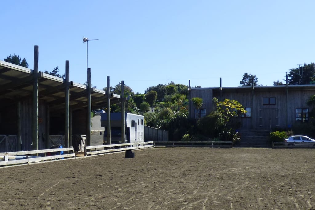 """View of """"The Barn"""" from the dressage arena"""
