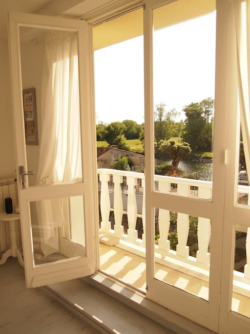 Master bedroom balcony; views of the Charente River