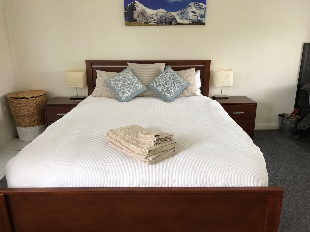 The very comfy queen bed with lovely Sheridan sheets and towels