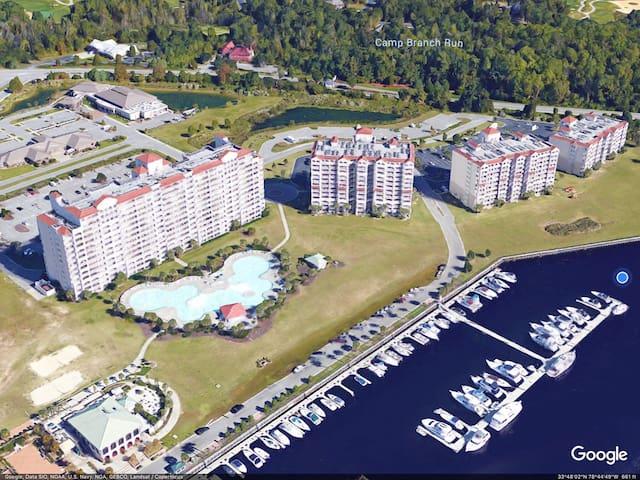 Aerial view of Yacht Club Villas