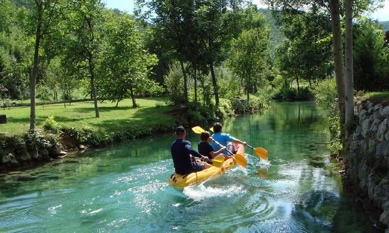 # Kayaking - The Mrežnica River is as created for kayaking. From April till October you can enjoy beautiful safari expedition in K2 kayaks exploring all beauties of this clear river.