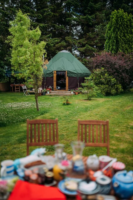 The yurt blending into the garden!