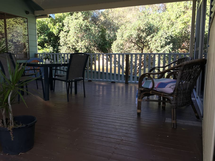 Private deck and seating.