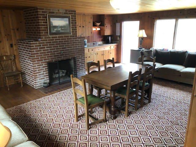 Fireplace & kitchenette