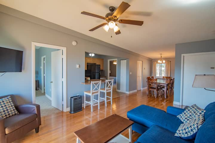 Walk to Weirs from this Spacious Condo!