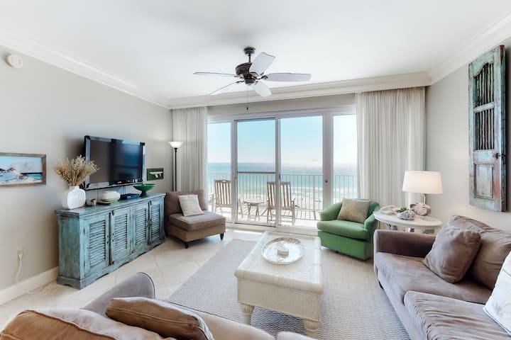 Upscale, beachfront condo w/ shared pools, a hot tub, fitness room, & tennis