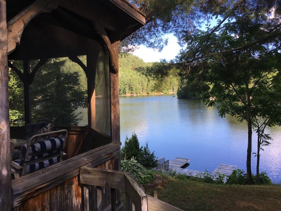 Gazebo overlooks the lake