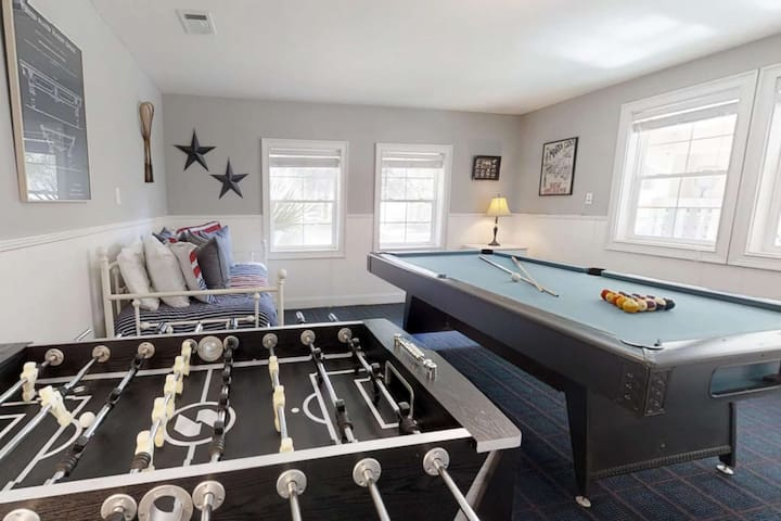 The game room located on the ground level complete with a foosball table and a pool table...let the fun begin!