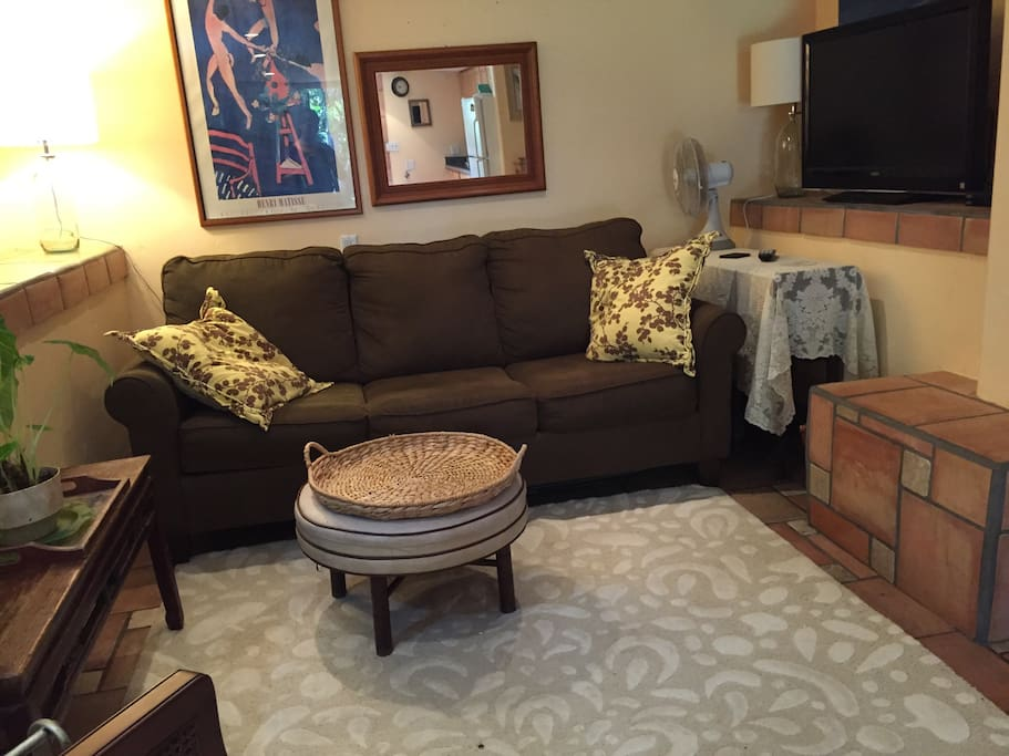 "Queen size sleeper sofa and 36"" flatscreen with direct tv, DVD player and access to Netflix."