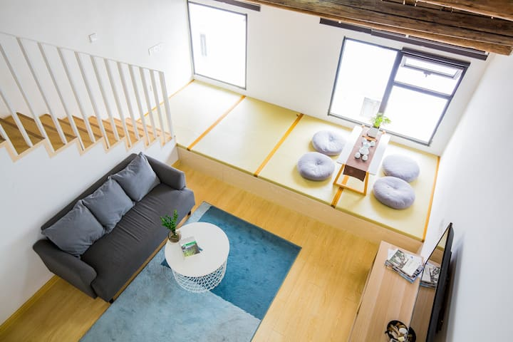 Home2迪士尼零距离,日式loft楼下榻榻米 超大浴室浴缸 接送迪士尼