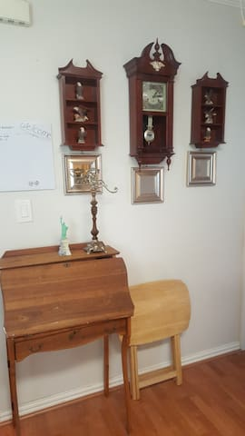 Desk, TV Trays, and Clock