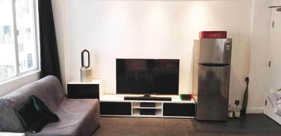 Brand new 4K TV with Netflix and YouTube and 4K gaming machines for fun!  and high tech Dyson Air purifier and heater