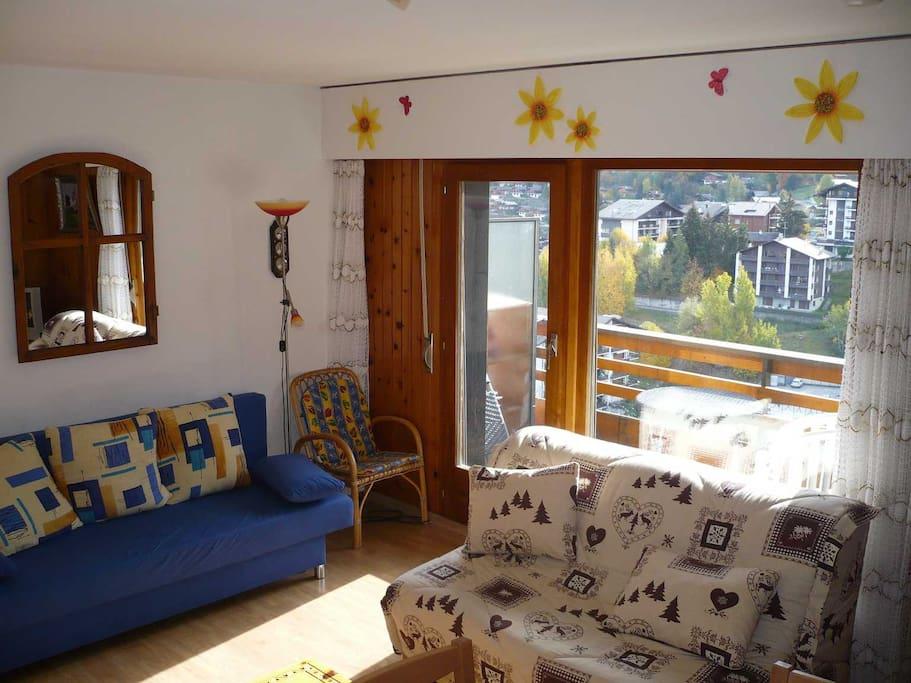Grand espace avec 2 canapés-lits et un coin pour les repas.