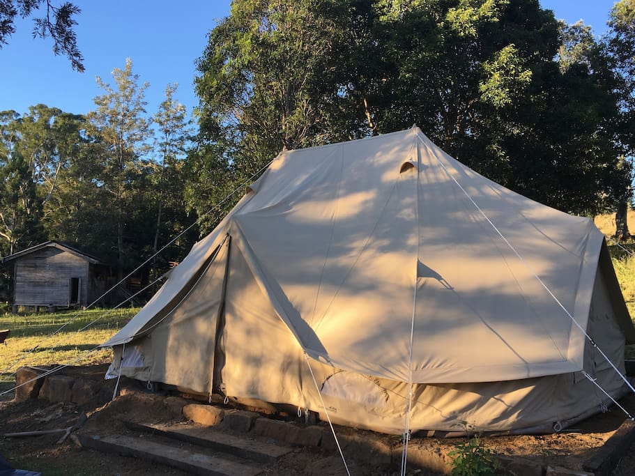 Our spacious 6m x 4m tents are of amazing quality for our climate and very roomy, with mattresses available to accommodate for extra family members.