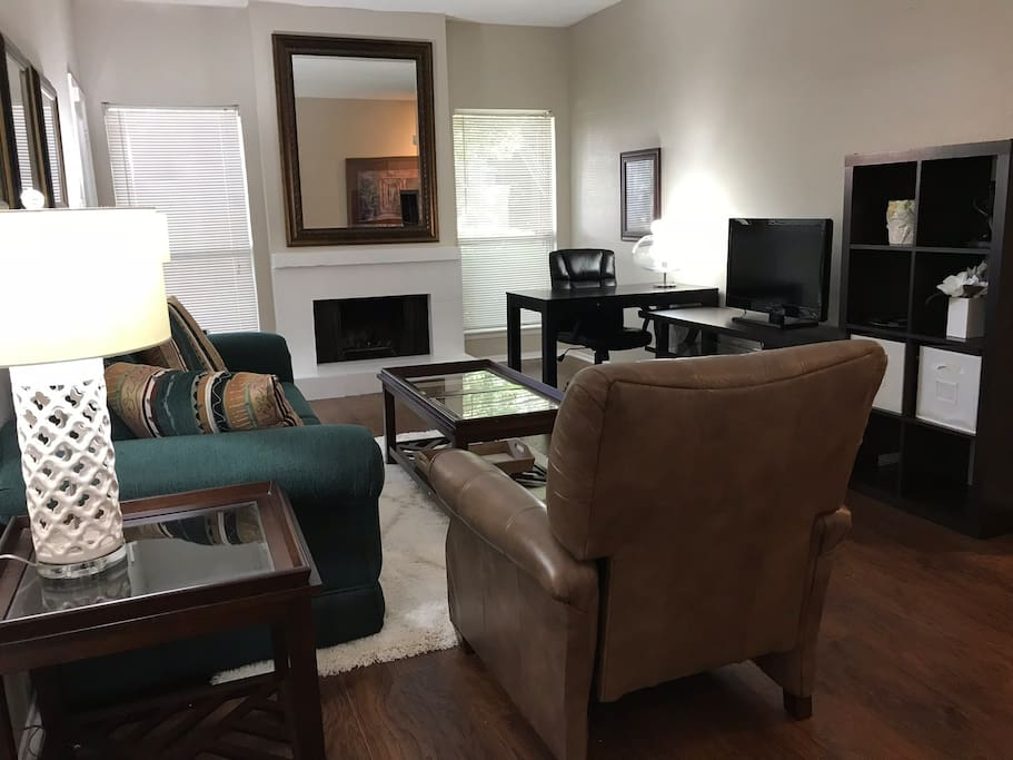 This unit has a fireplace and a desk so that you can work from home.