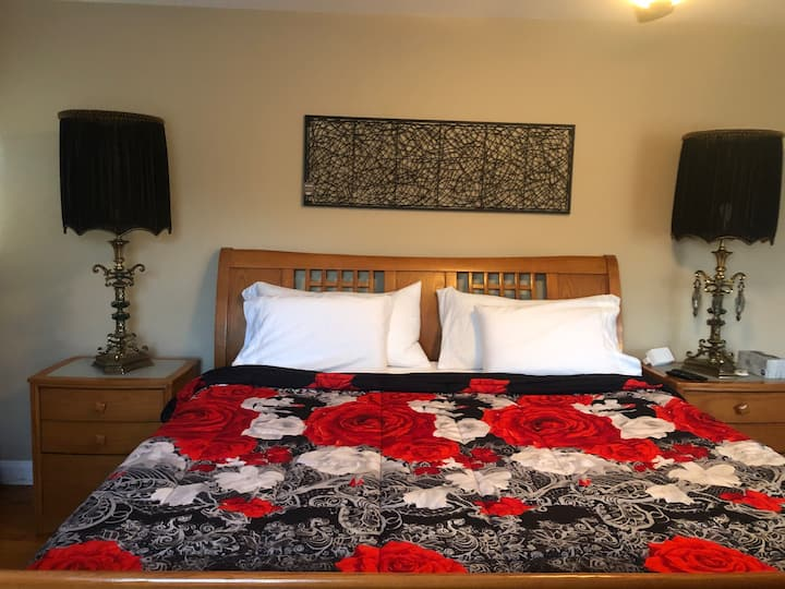King bed, Tall lamps, Englewood NJ, free parking.