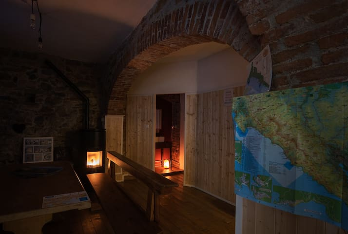 "Cosy Atmosphere: The beautifull atmosphere of our apartment is made even ""cosier"" by the salt lamp and pellet fire!"