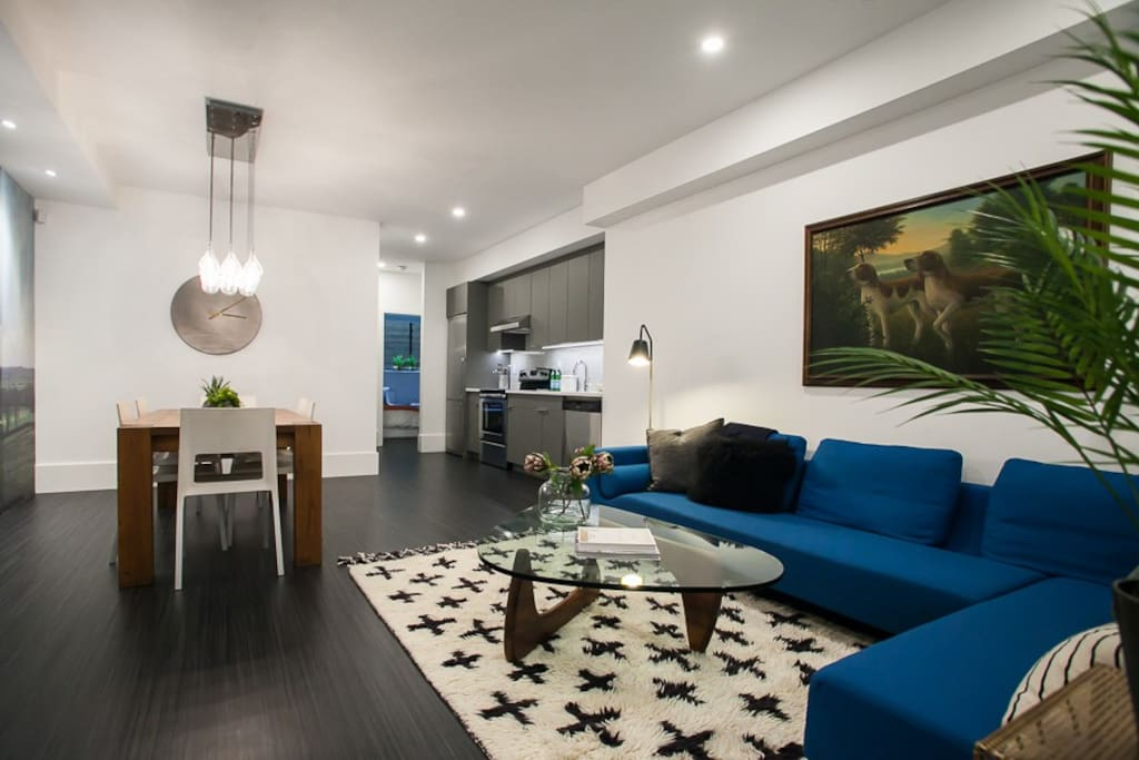 Modern and brand new, this 1,000 square feet of living space is bright and open: 10 ft ceilings.
