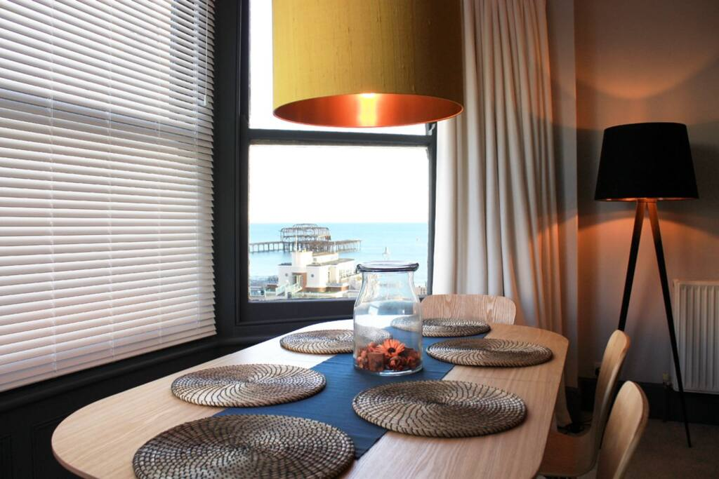 Dining table/work space with sea view
