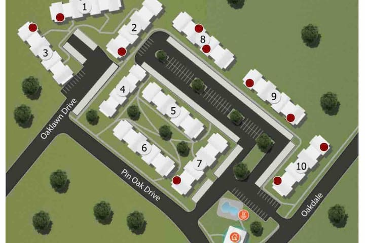 Layout of apartment complex. Building 4 is your building. Pool access is close by through a dog park walkway