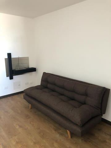 Sala, sofa cama y chimenea