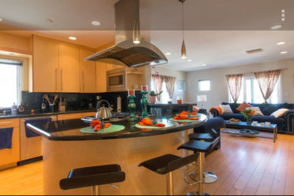This is the kitchen. It is nice and modern.