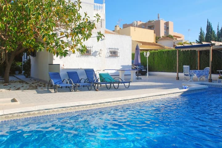 Villa with 4 bedrooms in Orihuela Costa, with wonderful sea view, private pool, enclosed garden - 500 m from the beach