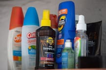 We provide an assortment of sunscreen and bug spray.
