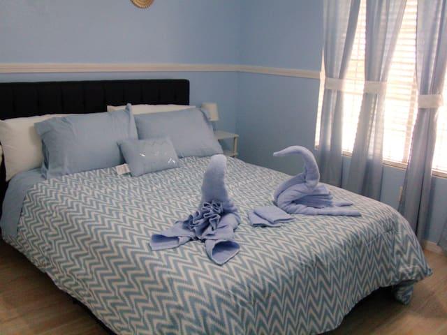 Blue bedroom/bath, private, quiet, 2nd bdrm avail.