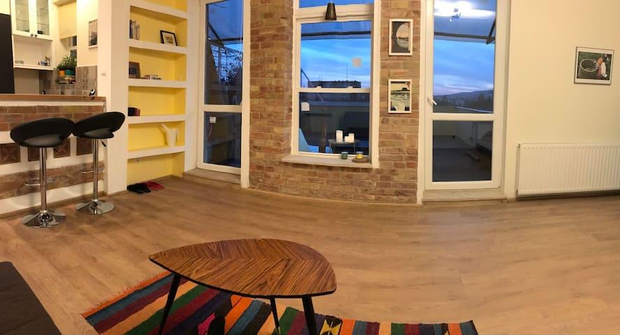 Panoramic roof terrace, beautiful studio flat