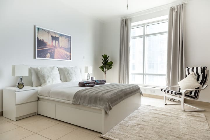 Beautiful bedroom with double bed