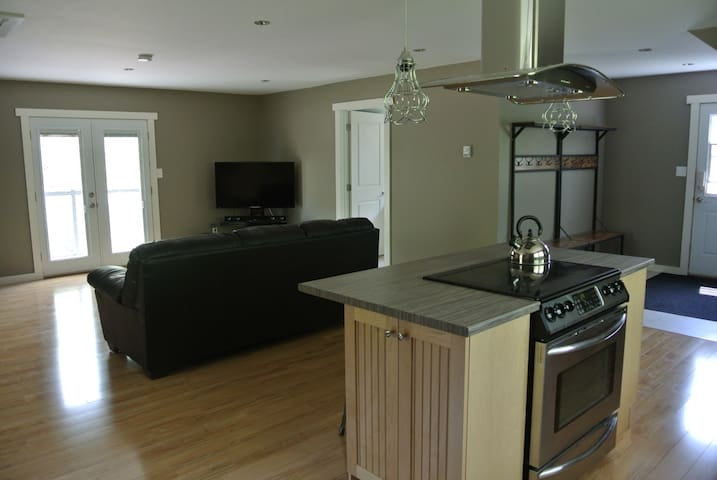 Fold out couch into double bed for extra guests. French door access to a quaint private balcony. Flat screen TV with Bell satellite for those few minutes of down time.