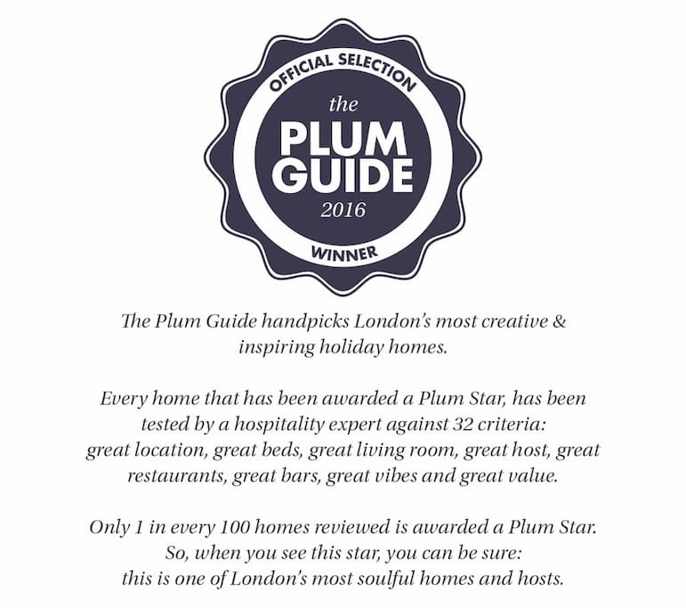 We were recently awarded the Plum Guide award for exclusive properties in London