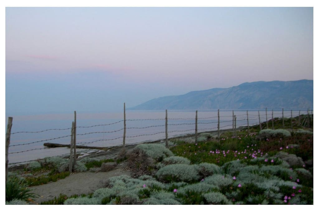 Vina Beach. View of Mount Kochylas. Spring Sunset Colors.