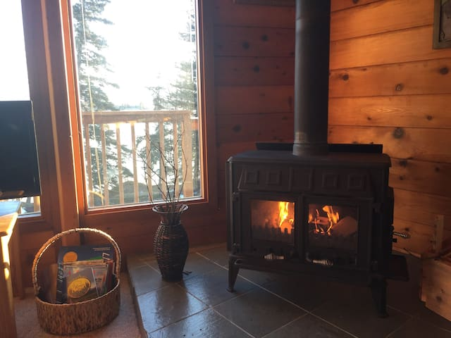 House is well heated with infloor heat and also has a wood stove that adds great ambiance.