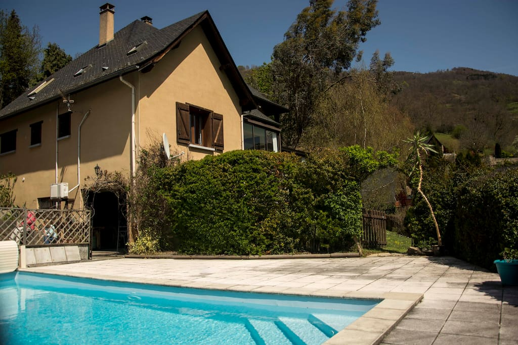 Our house and swimming pool - overlooking the beautiful Valley of Bethmale