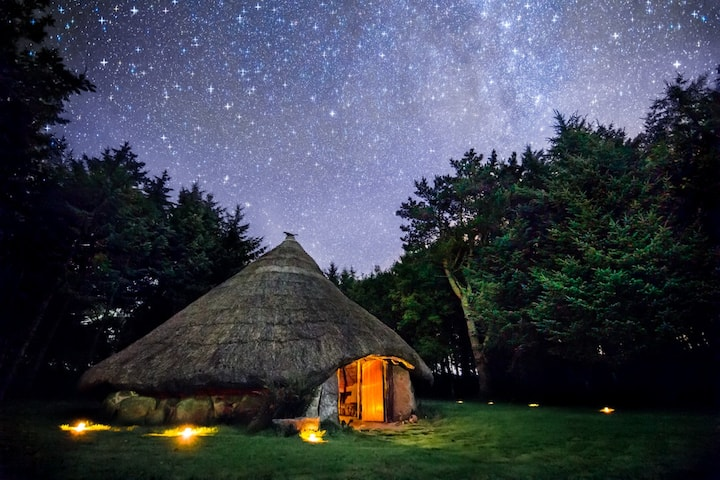 Superb Roundhouse & Treehouse Giant Bed. Firebowl