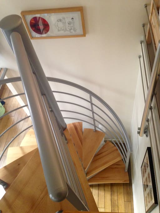 Spiral staircase may not be suitable for the elderly or infirm.