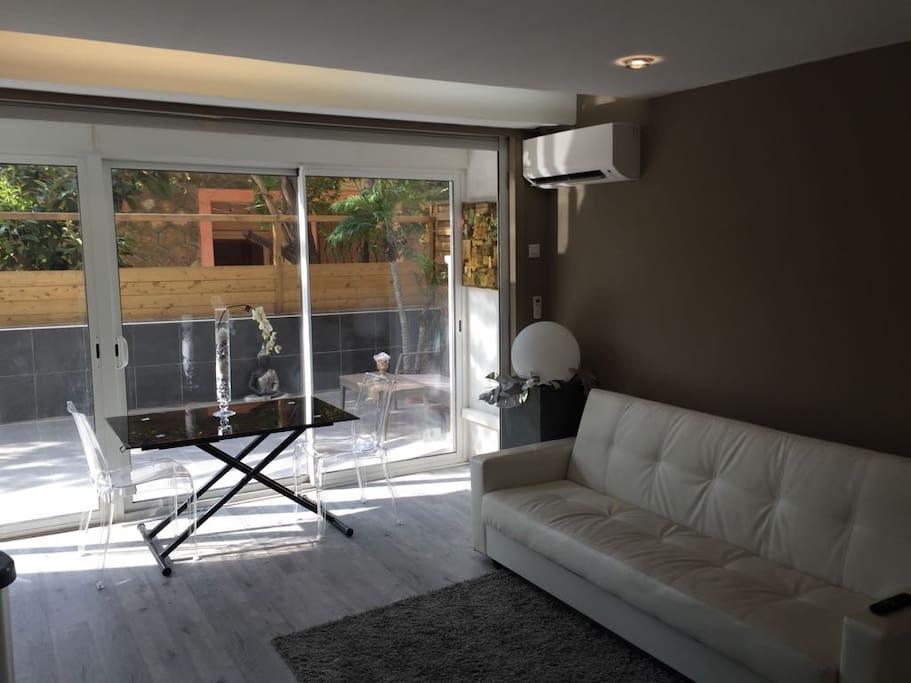 Salon avec baies vitrees lumineuses donnant sur sur une grande terasse