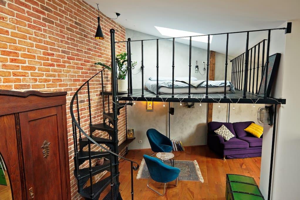 Living Area and mezzanine floor