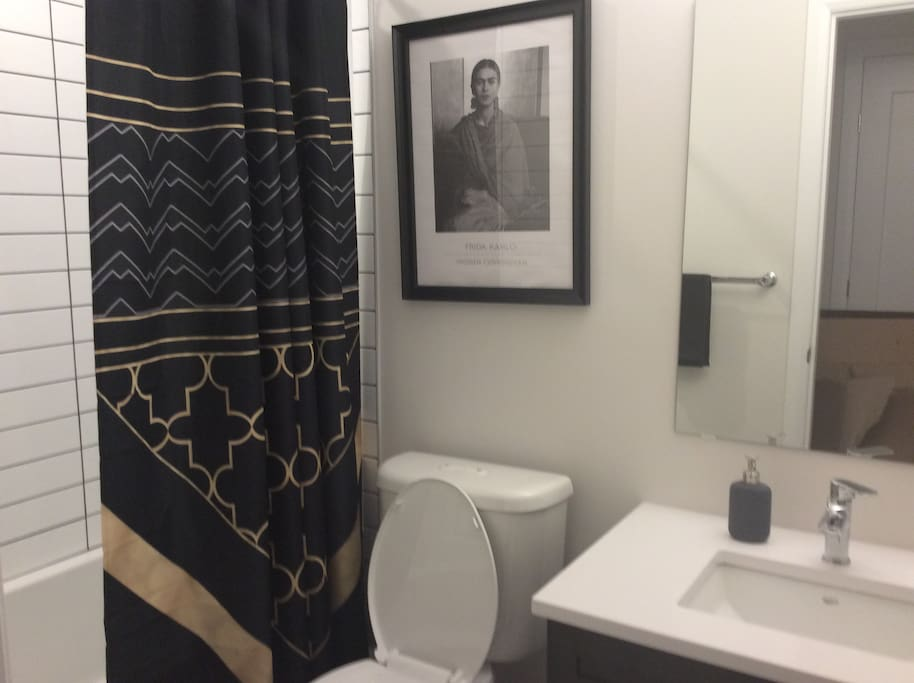 The bathroom is right next to the bedroom, on the other side from the hallway for privacy. This is for guests only.
