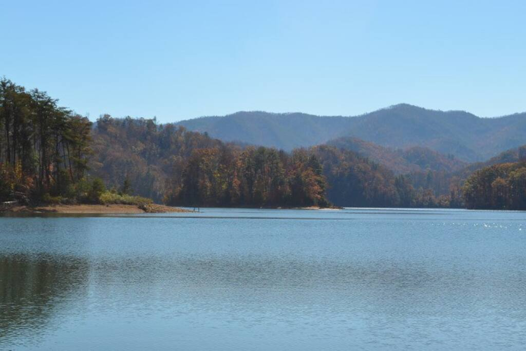 Watauga Lake cove in front of house
