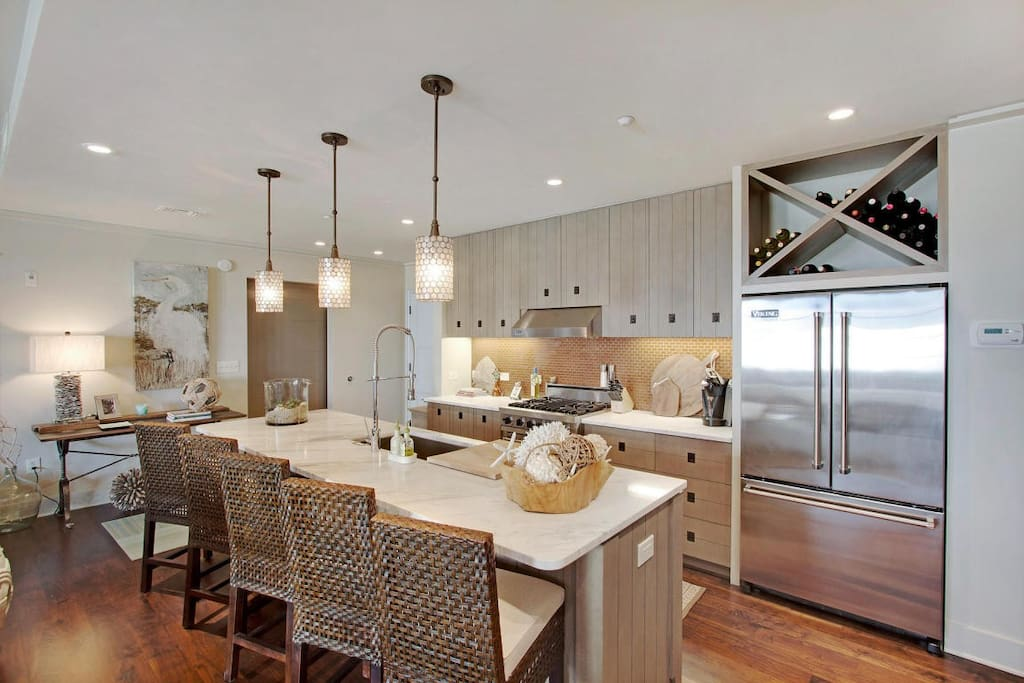 Rosemary Beach-The expansive kitchen island has seating for 5.