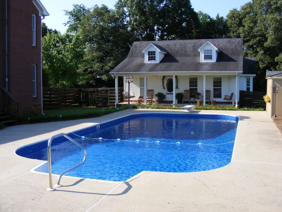Pool  is open June 1 until September 21 view from pool to guest house.